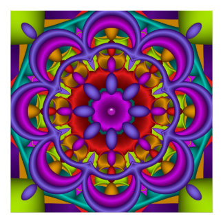 Color Dance, abstract kaleidoscope wallart Poster