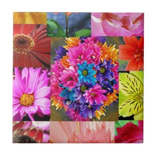 Color Display of flowers Tile