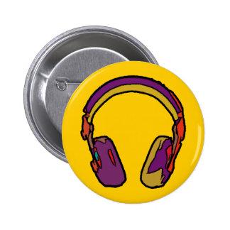 color dj headphone 2 inch round button