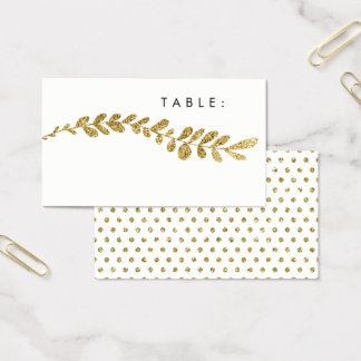 Color Editable Faux Gold Leaf Wedding Place Card