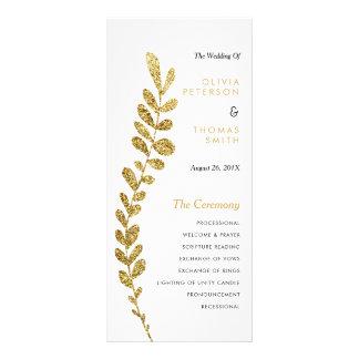 Color Editable Faux Gold Leaf Wedding Progam Rack Card