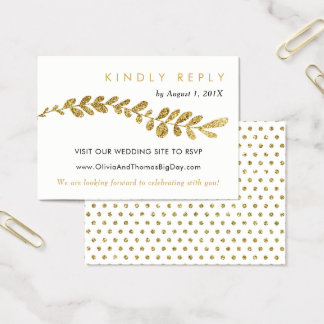 Color Editable Faux Gold Leaf Wedding RSVP Card
