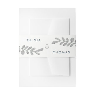 Color Editable Faux Silver Leaf Invitation Band Invitation Belly Band