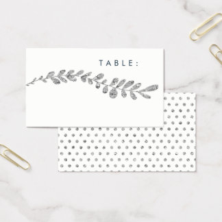 Color Editable Faux Silver Leaf Wedding Place Card