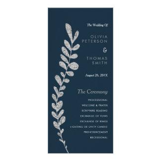 Color Editable Silver Leaf Wedding Progam Rack Card