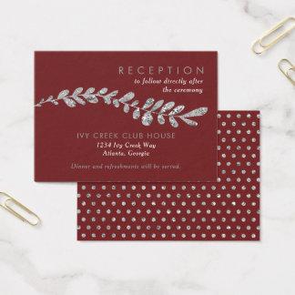 Color Editable Silver Leaf Wedding Reception Card