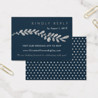 Color Editable Silver Leaf Wedding RSVP Card