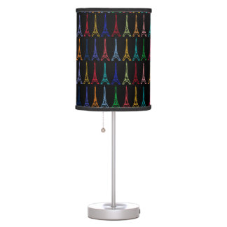 color Eiffel towers on customizable black Table Lamp