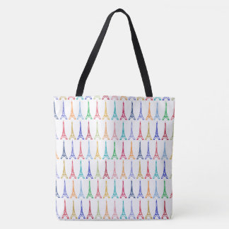 color Eiffel Towers pattern all_over_printed Tote Bag