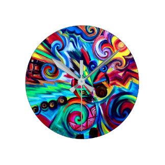 Color Explosion Round Clock