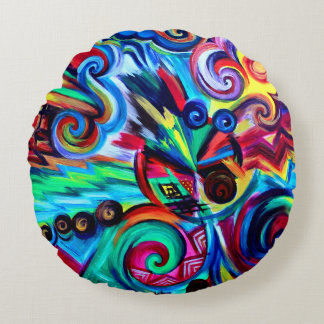 Color Explosion Round Pillow