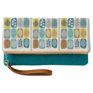 Color Fall Leaves Teal Fold-Over Clutch