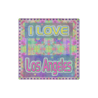 """Color Fest: """"I LOVE Los Angeles"""" Marble Stone Stone Magnets"""