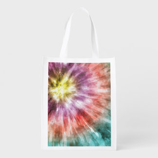 Color Filled Tie Dye Reusable Grocery Bag