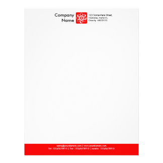 Color Footer - Red Personalized Letterhead