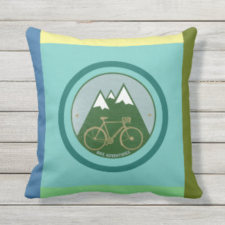 color geometric alpine mountains bicycle throw pillow