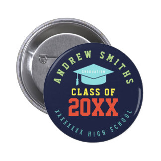 color graduation button with name and class year