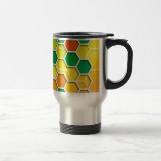 color graphic hexagon travel mug