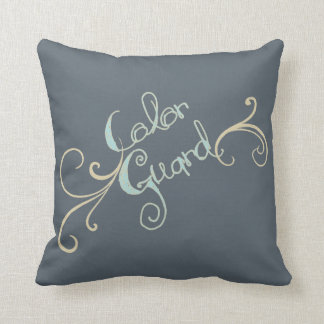 Color Guard Text Graphic with Swirl | Throw Pillow