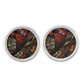 Color Harmony Abstract Art Silver Plated Cuff Links