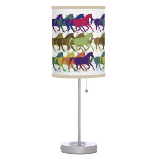 color horses running table lamp