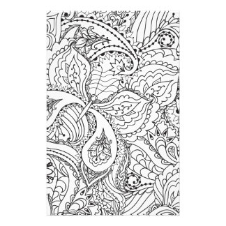 Color In Butterfly and Paisley Print Stationery Paper