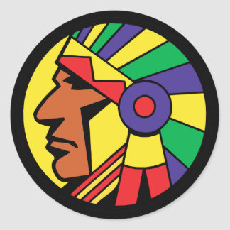Color Indian Head Round Sticker
