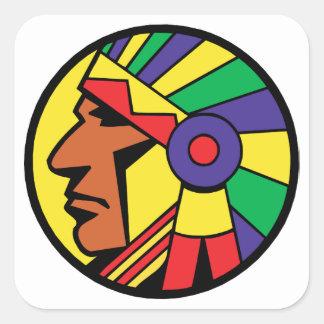 Color Indian Head Square Sticker