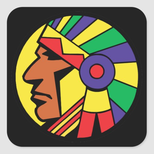 Color Indian Head Square Stickers