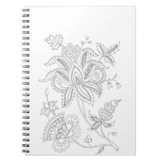 Color It Paisley Flowers Spiral Notebook