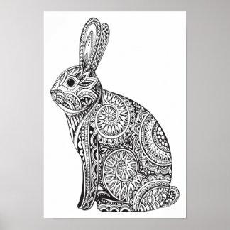 Color It Poster Rabbit Pattern
