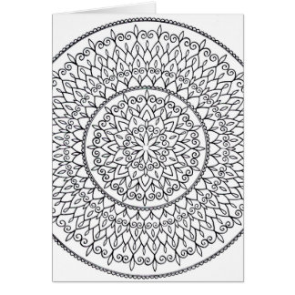 Color It Yourself Hand Drawn Intricate Mandala Art Card