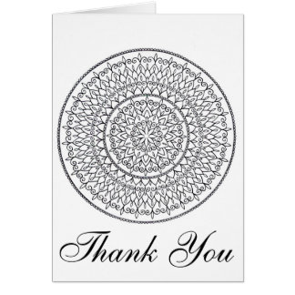 Color It Yourself Intricate Mandala Thank You Card