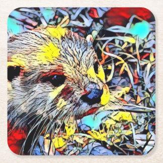 Color Kick - Otter Square Paper Coaster