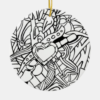 Color Me Black and White Zentangle Three Christmas Tree Ornament