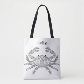 Color Me Crab Crustacean Nautical Art Illustration Tote Bag