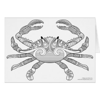 Color Me Crab Nautical Zen Doodle Illustration Card