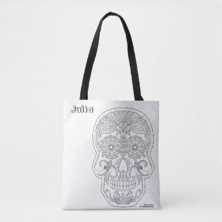 Color Me Day of the Dead Sugar Skull Art Halloween Tote Bag