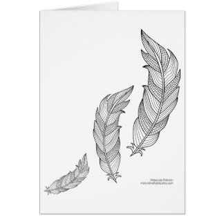 Color Me Feathers Fall Zen Doodle Illustration Card