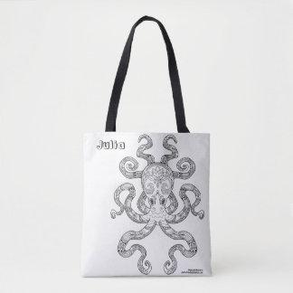 Color Me Octopus Nautical Art Kraken Illustration Tote Bag
