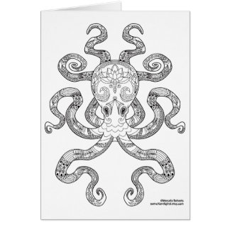 Color Me Octopus Nautical Zen Doodle Illustration Card