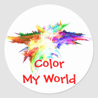 Color My World Classic Round Sticker