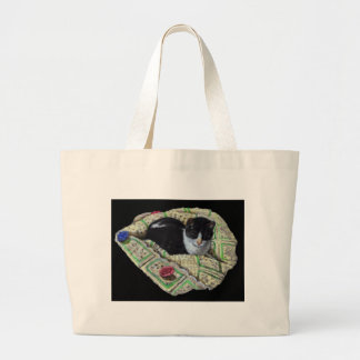 Color Pencil Drawing of Cat on Afghan, Napping Large Tote Bag