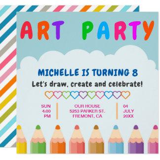 Color Pencils Kids Art Party Birthday Invitation