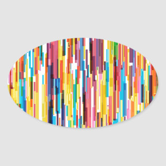 Color Pikes Pattern Oval Sticker