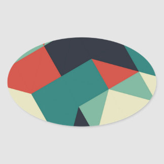 Color Polygons Oval Sticker