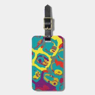 color pop art dj headphones luggage tag