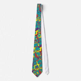 color pop art dj headphones tie