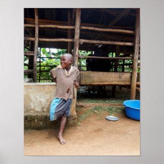 Color portrait of laughing Ugandan boy Poster