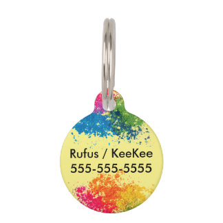 Color Powder Rainbow Pet Name Tag